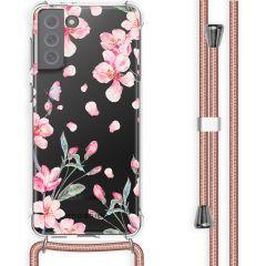 iMoshion Design hoesje met koord Samsung Galaxy S21 FE - Bloem - Roze