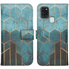 iMoshion Design Softcase Book Case Galaxy A21s - Green Honeycomb