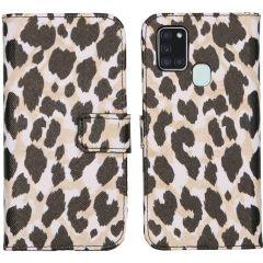iMoshion Design Softcase Book Case Galaxy A21s - Golden Leopard