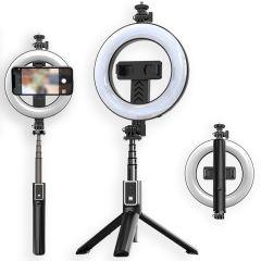 iMoshion 3 in 1 Pro Bluetooth Selfie Stick + Tripod + 6 inch Ring Fill Light