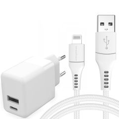 iMoshion Wall Charger 20W + MFI Braided Lightning naar USB kabel - 1,5 meter - Wit